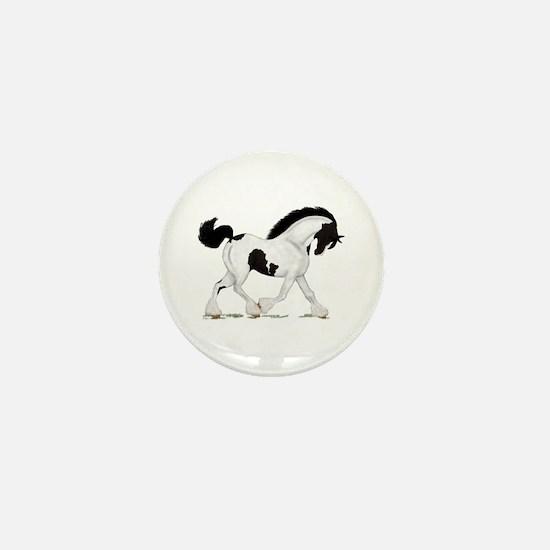 Black Piebald Gypsy Horse Mini Button