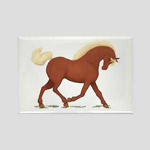 Trotting Sorrel Horse Rectangle Magnet