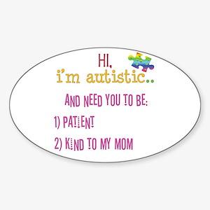 Hi,autism awareness tee Oval Sticker