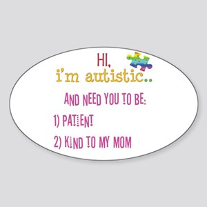 Hi,autism awareness tee Oval Sticker
