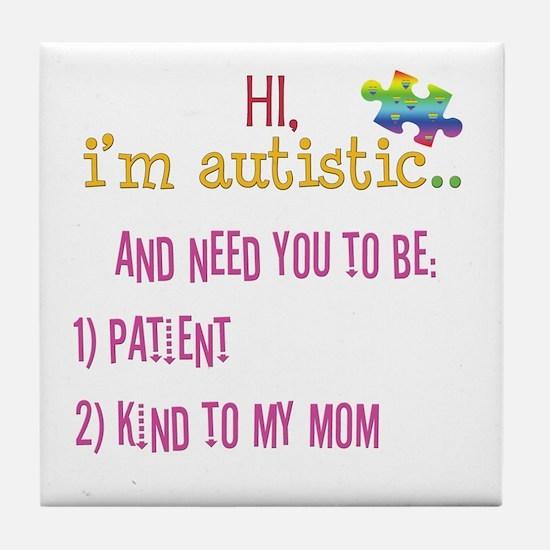 Hi,autism awareness tee Tile Coaster