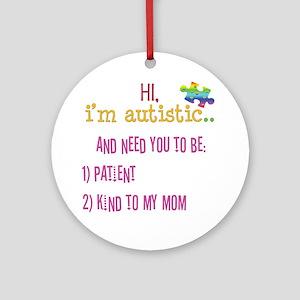 Hi,autism awareness tee Ornament (Round)