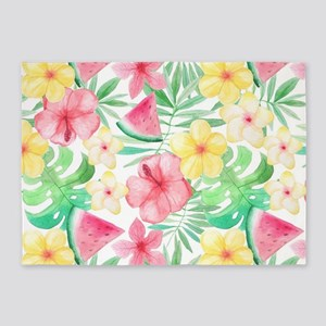 ALOHA Hawaii Summer Flowers and Fun 5'x7'Area Rug