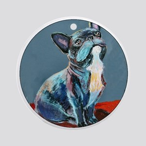 """Frenchman"" a French Bulldog Ornament (Round)"