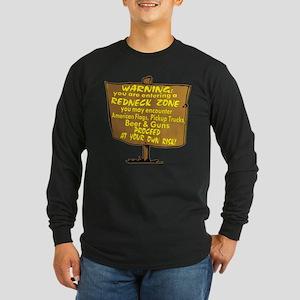 Warning Redneck Zone Long Sleeve Dark T-Shirt