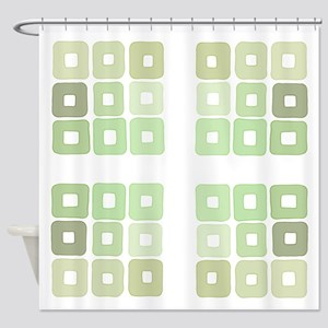 Greenery Squared and Green Shower Curtain