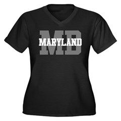 MD Maryland Women's Plus Size V-Neck Dark T-Shirt
