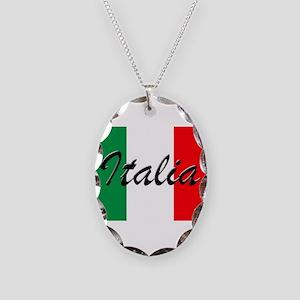Italian Flag - High Quality Im Necklace Oval Charm