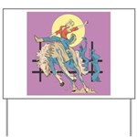 Sexy Cowgirl Riding Bronco Horse Yard Sign