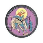 Sexy Cowgirl Riding Bronco Horse Wall Clock