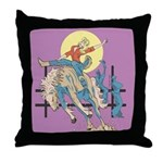 Sexy Cowgirl Riding Bronco Horse Throw Pillow