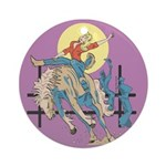 Sexy Cowgirl Riding Bronco Horse Ornament (Round)