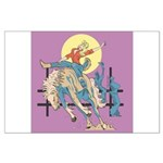 Sexy Cowgirl Riding Bronco Horse Large Poster