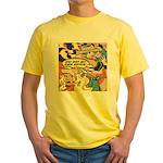 Western Cowgirl Cowboy Pop Art Yellow T-Shirt