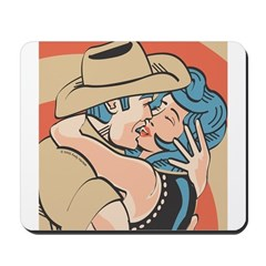 Sexy Western Cowboy Cowgirl Kissing Mousepad