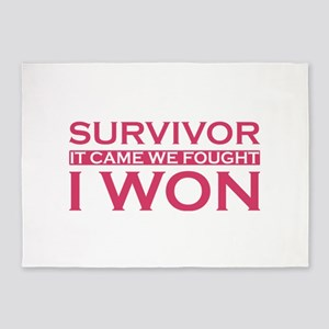 Survivor It Came Fought Won Cancer 5'x7'Area Rug