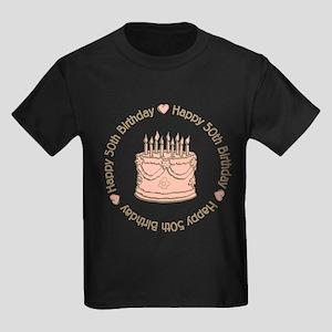 Happy 50th Birthday Cake Kids Dark T Shirt
