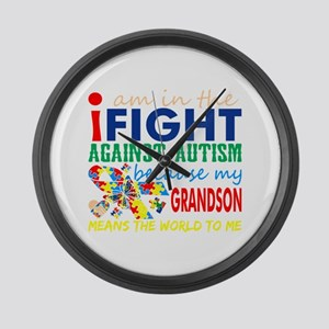 Im Fight Against Autism Grandson Large Wall Clock