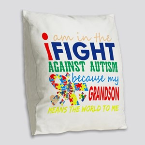 Im Fight Against Autism Grands Burlap Throw Pillow