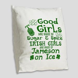 Good Girls Are Made Of Sugar & Burlap Throw Pillow
