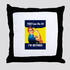 Rosie The Retired Riveter Throw Pillow