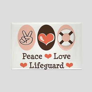 Peace Love Lifeguard Lifeguarding Rectangle Magnet