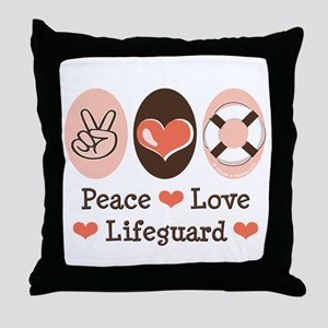 Peace Love Lifeguard Lifeguarding Throw Pillow