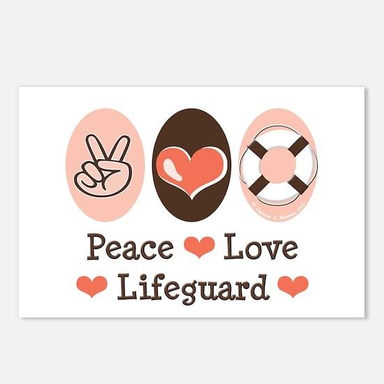 Peace Love Lifeguard Lifeguarding Postcards 8 Pack