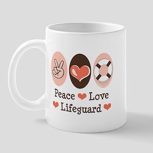 Peace Love Lifeguard Lifeguarding Mug