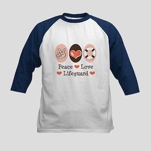 Peace Love Lifeguard Navy Kids Baseball Jersey