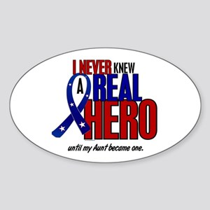 Never Knew A Hero 2 Military (Aunt) Oval Sticker