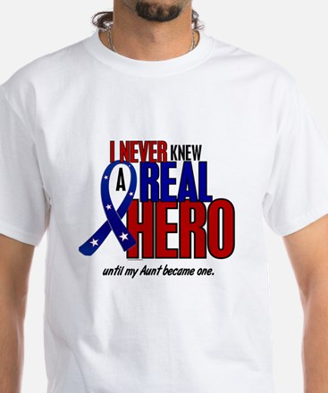 Never Knew A Hero 2 Military (Aunt) White T-Shirt