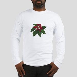Burgundy Poinsettia Long Sleeve T-Shirt