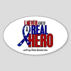 Never Knew A Hero 2 Military (Niece) Sticker (Oval