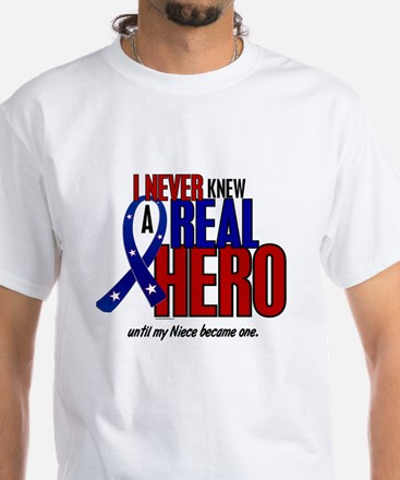 Never Knew A Hero 2 Military (Niece) White T-Shirt