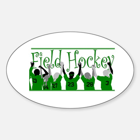Field Hockey - Green - Oval Decal