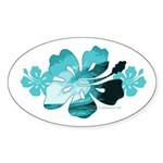 Hibiscus Surf - Oval Sticker (10 pk)