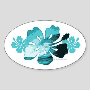 Hibiscus Surf - Oval Sticker