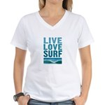 Live, Love, Surf - Women's V-Neck T-Shirt