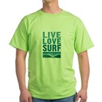 Live, Love, Surf - Green T-Shirt