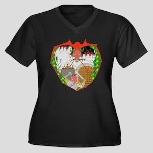 Dragon Crest Women's Plus Size V-Neck Dark T-Shirt