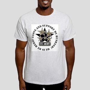 US Army Husband Stars Ash Grey T-Shirt