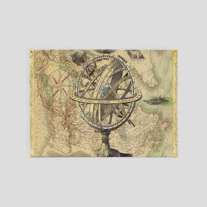 Globe nautical world map 5'x7'Area Rug
