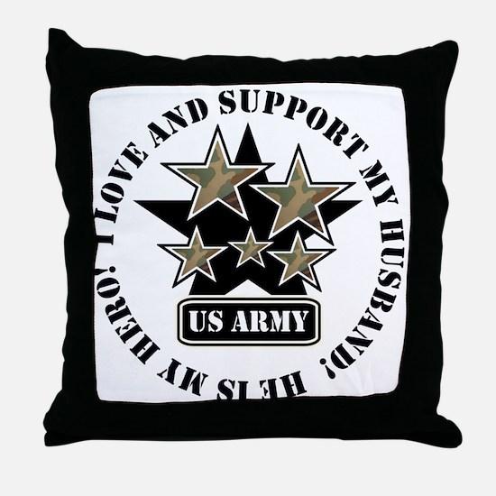 US Army Husband Stars Throw Pillow