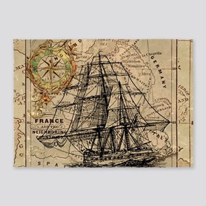 vintage pirate ship world map 5'x7'Area Rug