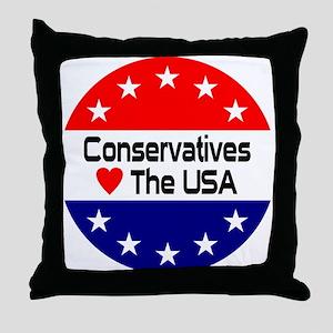 Conservatives Love The USA Throw Pillow