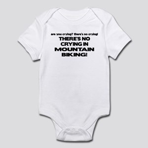 There's No Crying Mountain Biking Infant Bodysuit