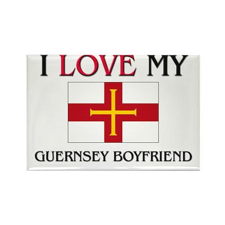 I Love My Guernsey Boyfriend Rectangle Magnet (10