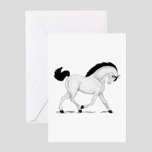 Gray Horse Black Mane Greeting Card