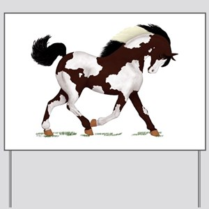 Black Overo Paint Horse Yard Sign